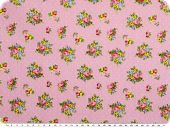 Cotton print, bouquets of flowers, pink, 155cm