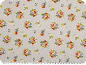 Cotton print, bouquets of flowers, light grey, 155cm