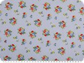 Cotton print, bouquets of flowers,light blue, 155cm