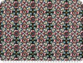 Cotton-Jersey, geometric flowers, dark blue-rose, 150cm