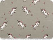 Children fabric, Cotton-Jersey print, unicorns, light grey