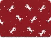 Children fabric, Cotton-Jersey, unicorns,bordeaux, 150cm