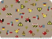 Cotton jersey, children fabric, building site, pale brown