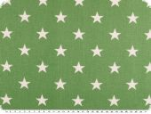 Cotton print, stars , green-white, 145cm