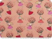 Cotton-Jersey print, dandelion and girl, antique pink, 150cm