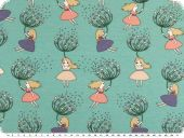 Cotton-Jersey print, dandelion and girl, aqua, 150cm