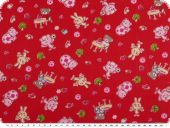 Children fabric, cotton, rabbits and bears, red, 150cm