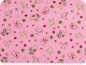 Children fabric, cotton, rabbits and bears, rose, 150cm