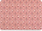 Children fabric, sailboats and anchors, rose pink, 140cm