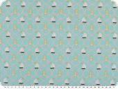 Children fabric, sailboats and anchors, turquoise, 140cm