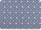 Children fabric, sailboats and anchors,  blue, 140cm