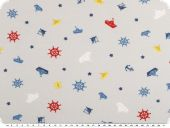 Children fabric, cotton jersey, anchors and boats, lightgrey