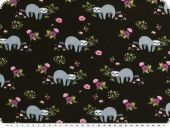 Cotton-Jersey,  sloths and flowers, black, 150cm