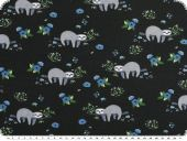 Cotton-Jersey, sloths and flowers, night blue, 150cm
