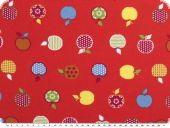 Children fabric, Cotton-Jersey, apples, red, 150cm