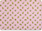 Children fabric, cotton, bees, rose pink-yellow, 145cm