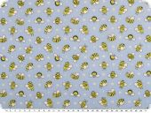 Children fabric, cotton, bees, light blue-yellow, 145cm