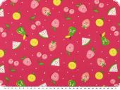 Children fabric, cotton print, fruit faces, pink, 140cm