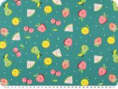 Children fabric, cotton print, fruit faces, tuquoise, 140cm