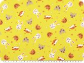 Children fabric, cotton print, animals, yellow, 140cm