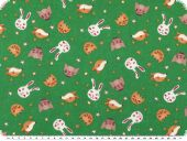 Children fabric, cotton print, animals, green, 140cm