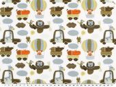 Cotton-Jersey for children, animal world, white-multicolour