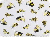 Children fabric, cotton jersey, excavators, white, 150-155cm