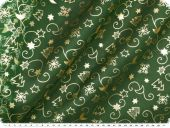 Christmas fabric organza print, green-gold, 145cm