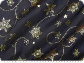 Christmas fabric organza print,stars, dark blue, 145cm