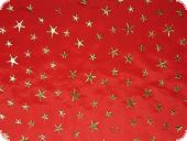 Christmas fabric, Taffeta, golden stars, red, ca. 140cm