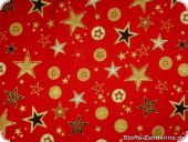 Christmas fabric with stars, red, ca. 140cm