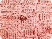 Organza fabric with foil print, red-red, 144cm
