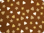 Leftover, Christmas fabric, stars, hearts, 110x140cm, spots!