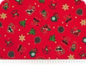 Christmas cotton fabric with goldprint, red, 140cm