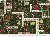 Christmas cotton fabric with goldprint,  green, 140cm