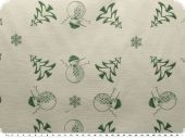 Christmas fabric jacquard, snowman, green, 163cm