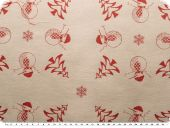 Christmas fabric jacquard, snowman, red, 163cm