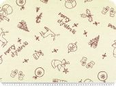 Christmas fabric, cotton-linen, ecru-red, 160cm