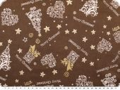 Christmas fabric, goldprint, brown, 140cm