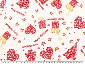 Christmas fabric, goldprint, ecru, 140cm