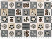 Deco christmas fabric, patch,  grey and white, 140cm