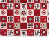 Deco christmas fabric, patch,  red and white, 140cm