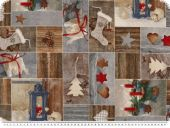 Christmas-deco fabric, winter motifs, 140cm