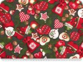 Christmas fabric, tree decorations, dark grey, 140cm