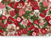Christmas fabric, tree decorations, ecru, 140cm