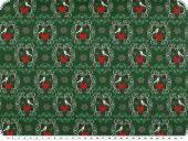 Deco christmas fabric, hearts and birds, green, 140cm