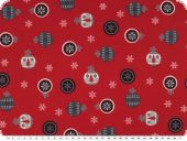 Cotton fabric with christmas motifs, red, 140cm