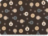 Cotton fabric with christmas motifs, brown, 140cm