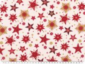 Cotton christmas fabric, stars, light beige-red-gold, 140cm