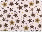Cotton christmas fabric, stars, light beige-brown-gold,140cm